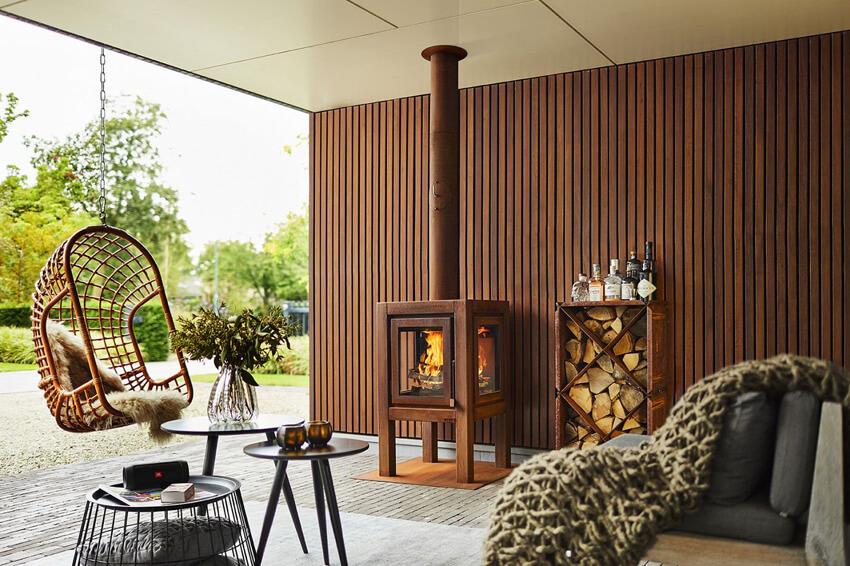 overdekt terras verwarmen houtkachel